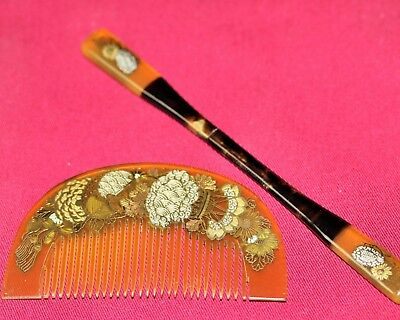 Vintage JAPANESE ANTIQUE Hair Comb set 1900s KUSHI KANZASHI KIMONO JAPAN a346