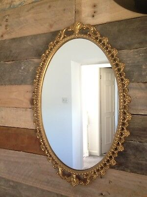 Lovely Large Vintage Gilded Gold Cast Iron Mirror Regency Rococo Style Castcraft