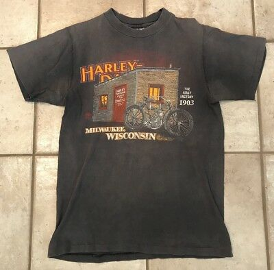 Vintage 1980s Harley Davidson Motorcycles First Factory Shirt USA Bikers Only