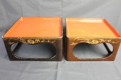 Antique Japanese Lacquerware Makie Wood Ozen Tray 2 set Tea Ceremony