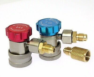 """HIGH LOW AC R134a Quick Coupler Connector Adapter 1/4"""" SAE HVAC W/ 1/2"""" ACME"""