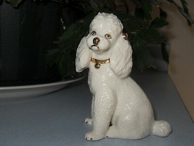 Lenox Poodle Puppy Dog Ivory/ White with Gold accents