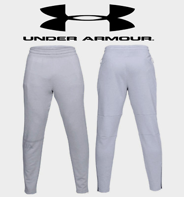 UA Under Armour Men's French Terry Tapered Pants L,XL,2XL,3XL White/Grey