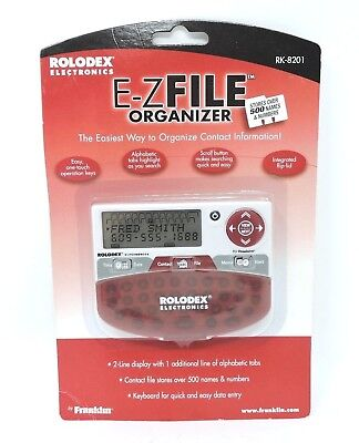 Rolodex RK-8201 E-Z File Electronic Contact Organizer New In Sealed Package