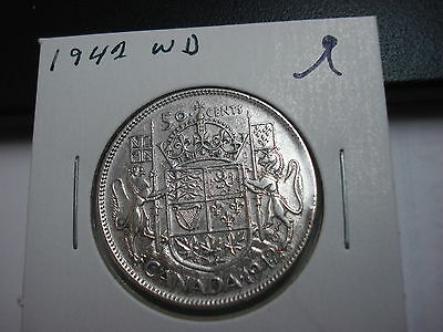 1942 Wide Date - Canada - silver 50 cent coin - Canadian half dollar