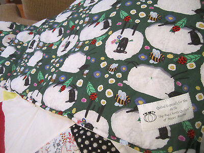 """Handmade cotton quilt sheep bees colorful baby bedding 38x46"""""""