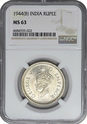 1944 B MS63 British India Silver Rupee NGC UNC Bombay KM 557.1 George VI