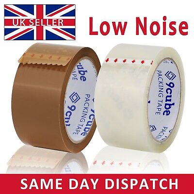 LOW NOISE Packaging Tapes Rolls Sealing Box Packing Clear Brown Tape 48mm x 66M