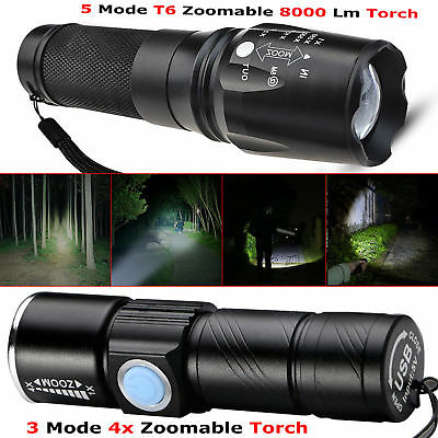 USB 8000lm Ultra Bright Police LED Flashlight Torch Lamp Wth Beam Focusing Zoom