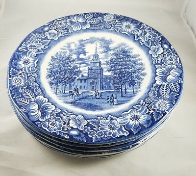 Staffordshire Liberty Blue White Dinner Plates Independence Hall Historical