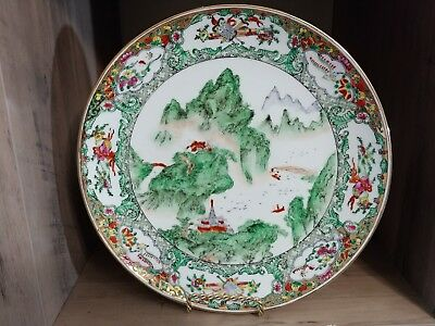 """Chinese Famille Rose Mountain Scene Plate 10"""""""