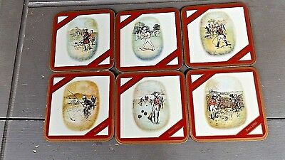 6 JOHNNIE WALKER RED COASTERS / Different Artwork on Each / Cork Base VINTAGE