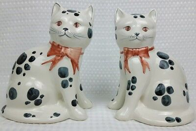 Pair Of Rye Pottery Mantle Cats White Black Spots 20Cm Tall Excellent