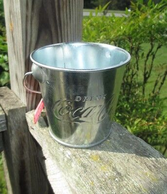 Coca-Cola Medium Galvanized Pail Dip Treats Party Favor Embossed- BRAND NEW