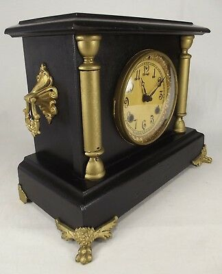 ANTIQUE MANTEL CLOCK New Haven black USA gold gilt LIONS PAW old WORKS