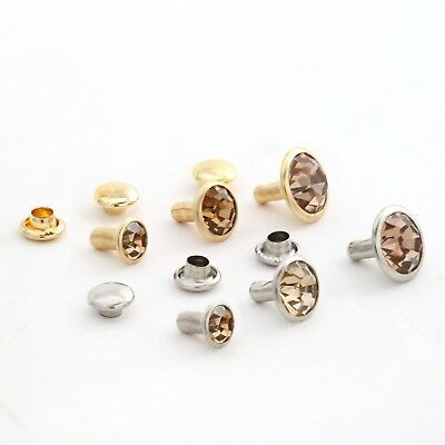 Rhinestone Rivets,Amber vailable in the following sizes in Gold or Silver trim