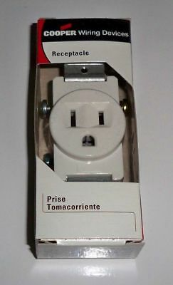 50 new Cooper 817W-BOX Single Receptacle 2 pole 3 wire 3 prong outlet 15A 125V