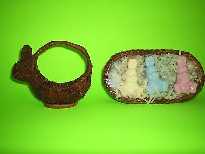 3 bunny shaped soaps in wicker basket, and bunny shaped small basket