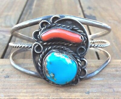 Navajo Sterling Silver Turquoise C Native American Cuff Bracelet 925 Vintage