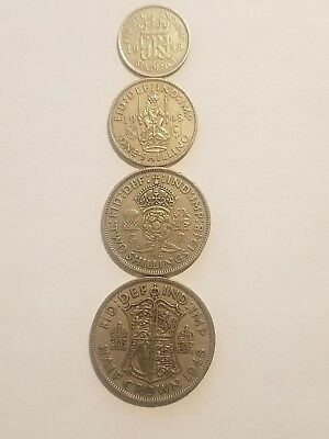1948 England (UK)  4 Coin Lot -  Sixpence, 1 Shilling, 2 Shillings, 1/2 Crown