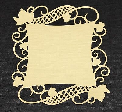 16 Yellow & Green Spellbinders Curved Square Vine Flourish Die Cuts Card Toppers