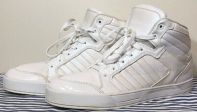 Adidas Neo Raleigh Retro Leather Sneakers Hi Top Shoes Iridescent Patent  10.5 11 7dc0eb002