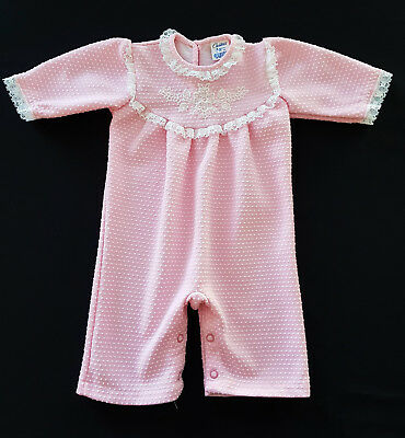 VINTAGE 1960's - 70's BABY GIRL'S PINK ROMPER - REBORN DOLLS, COLLECTOR, PHOTOS