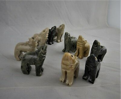 """HOWLING STONE WOLVES"" Beautiful Rock Miniature Wolf FigurineS Set of 10"