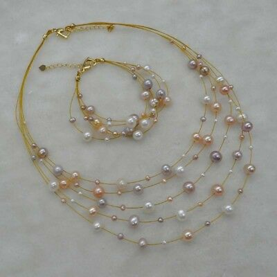 New 5rows star style fine real pearl necklace bracelet sets can option 3-8mm
