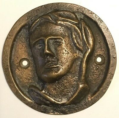 """Vintage BRONZE High Relief Miniature Wall Plaque ABSTRACT FACE - 3-1/8"""" Diameter"""