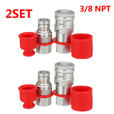 "2 Sets 3/8""  NPT Flat Face Hydraulic Quick Connect Coupler Coupling Skid Steer"