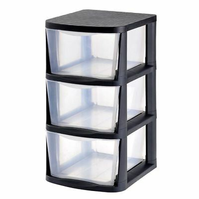 Muscle Rack 3 Drawer Clear Plastic Storage Tower Black Frame Office Desk Class