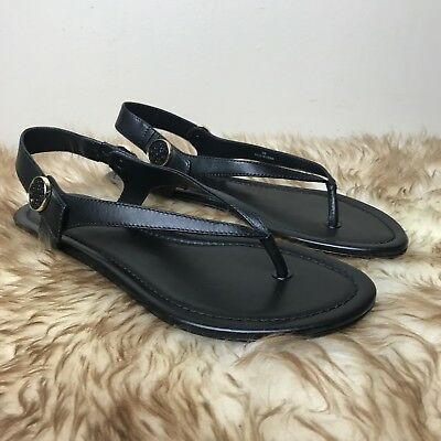 adcf5a99f0a6 Tory Burch Minnie Travel Sandal Black Leather Thong Gladiator Slingback  Size 9