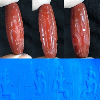 Rare HOLY LAND Ancient Agate Carnelian Cylinder Seal