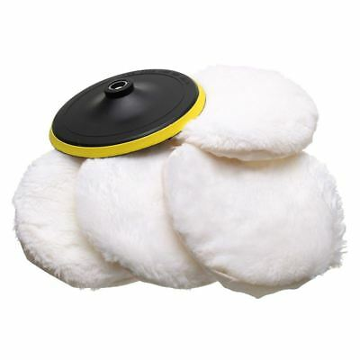 5Pcs Polisher/Buffer kit Soft Wool Bonnet Pad White:4 inch W3X8