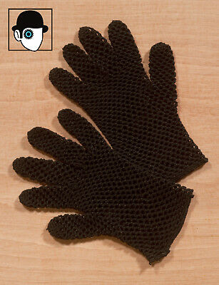 VINTAGE 30s/40s HAND CRAFTED COTTON CORD MESH GLOVES - UK/US 8 - X-LARGE - (Q)