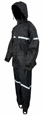 Motorcycle Biker Two Piece Rain Suit Black High Visibility  Black  RN2B