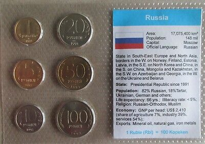 Russia.....6 Uncirculated Coins......in Plastic Cover
