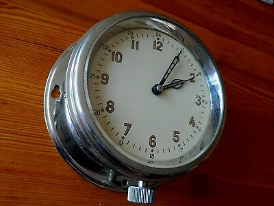 Russian Soviet Vintage Navy brass ship wall clock.
