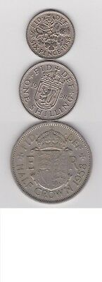 1958 England (UK) 3 Coin Lot - Sixpence, 1 Shilling, 1/2 Crown