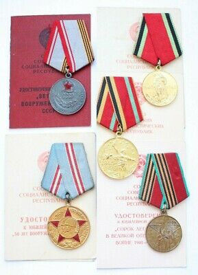 Original Soviet Russian USSR Medal Victory WWII Veteran 25 Armed Forces Army DOC