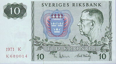 Sweden 10 Kroner Banknote 1972 Uncirculated Condition Cat#52-C-0014