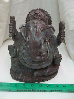 Hand Carved Natural Solid Ruby Fuchsite Lord Ganesh Ganesha Statue Carving 10KG