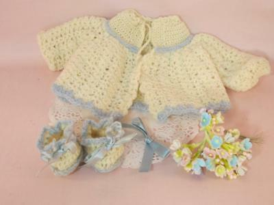 "Vintage Baby Doll Sweater, Booties 1930's Crochet Clothes for 10"" Antique Doll"