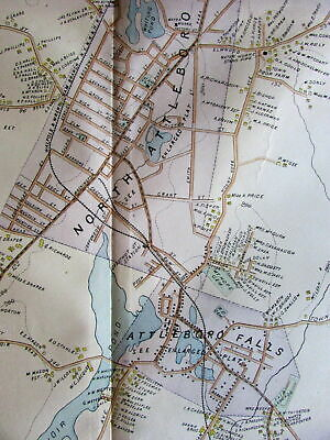 North Attleboro Falls Reservoir pond 1895 Bristol Co. Mass. lg. detail old map