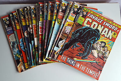 Marvel Savage Sword Of Conan Comics, 1975, Issues 1 - 18, Job Lot, Bundle.