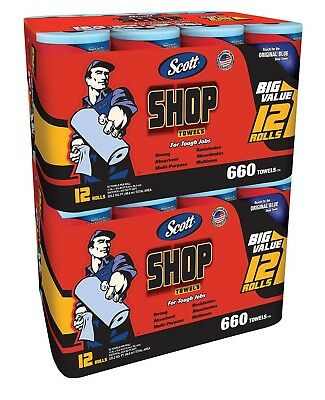 2 Packs Scott Shop Towels 2X12 Rolls Packs Blue Original Multi Purpose Grease