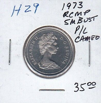 H29 CANADA 25c 25 CENTS coin 1973 small bust PROOF-LIKE CAMEO FROSTED DESIGN $35