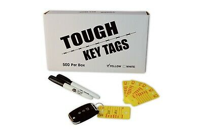 Car Dealer Key Tags | Tough Plastic Rigidene Style | 500 Survivor EZ400 Tags