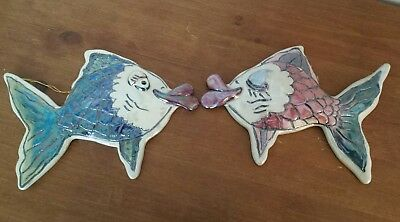 2 Heather Goldminc 2000 Blue Sky Clayworks 3-D Kissy Fish Hanging Wall Plaques